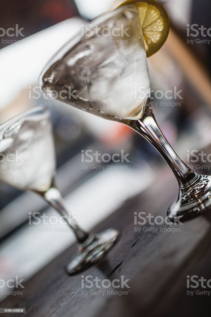 Two classic dirty martinis stock photo