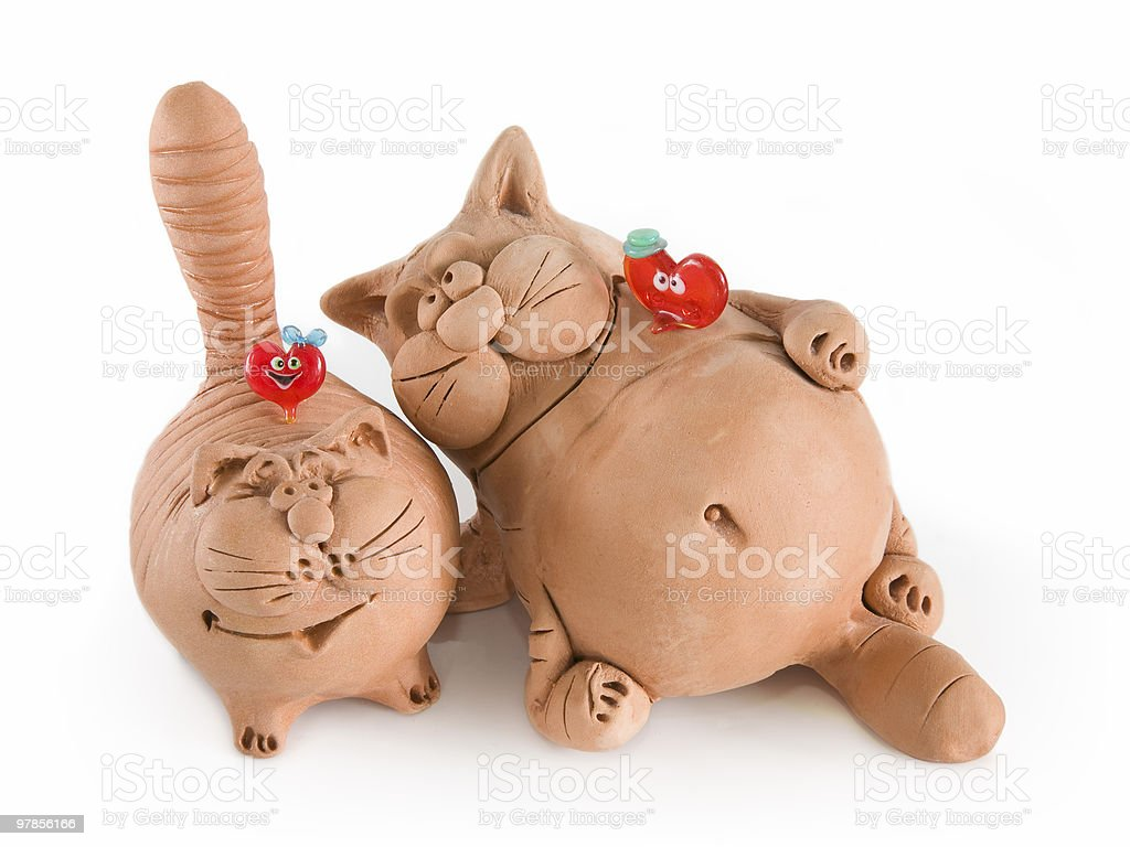 Two clay funny cats royalty-free stock photo