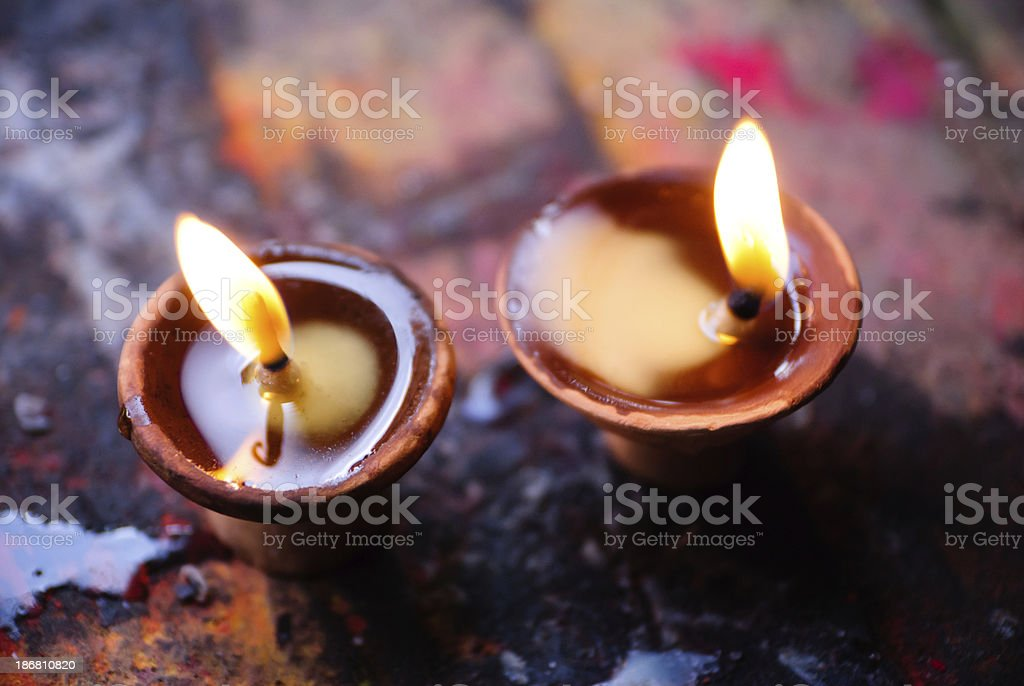 Two clay oil lamps (Diyo) royalty-free stock photo