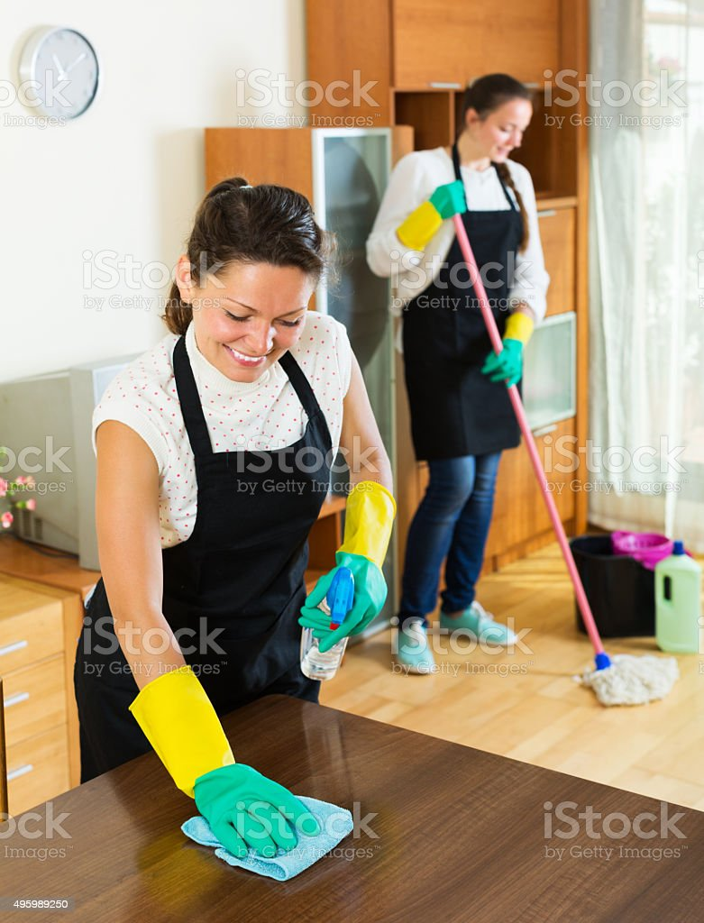 Two cleaners cleaning room together stock photo