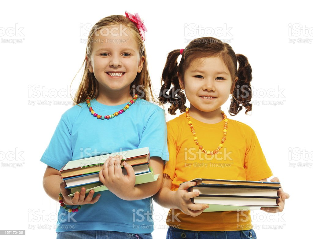 Two clever girls royalty-free stock photo