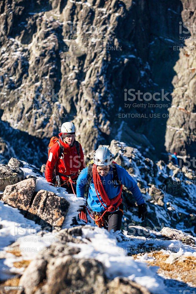 Two climbers in Tatra mountains, Slovakia stock photo