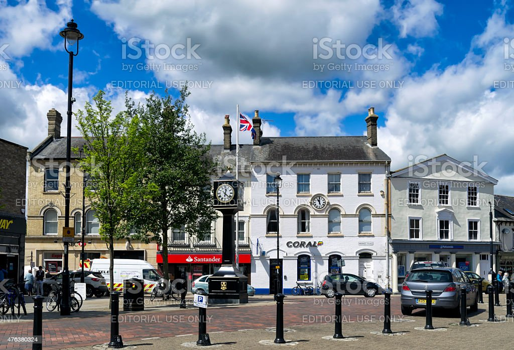 Two clocks in the Market Place, Stowmarket stock photo