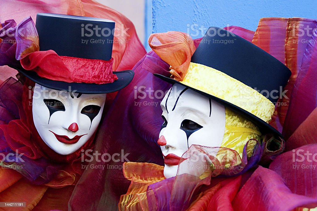 Two clowns - close up stock photo
