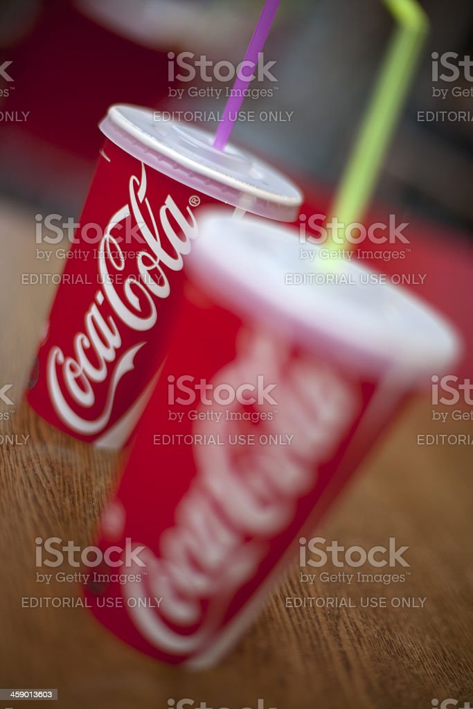 two Coca Cola Cup on the table stock photo