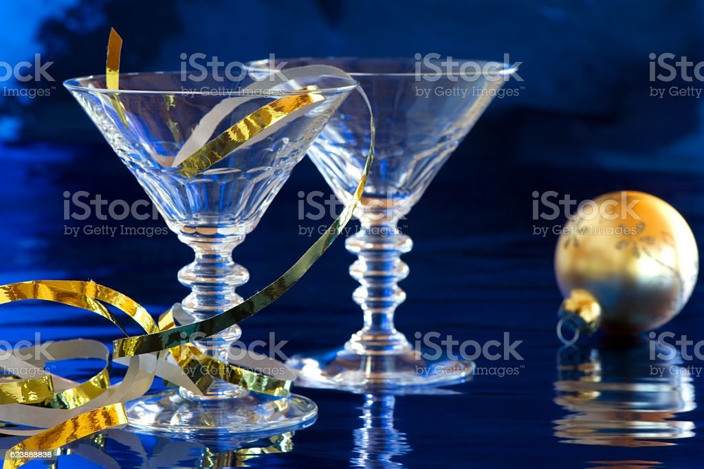 Two cocktail glasses with Christmas decoration stock photo