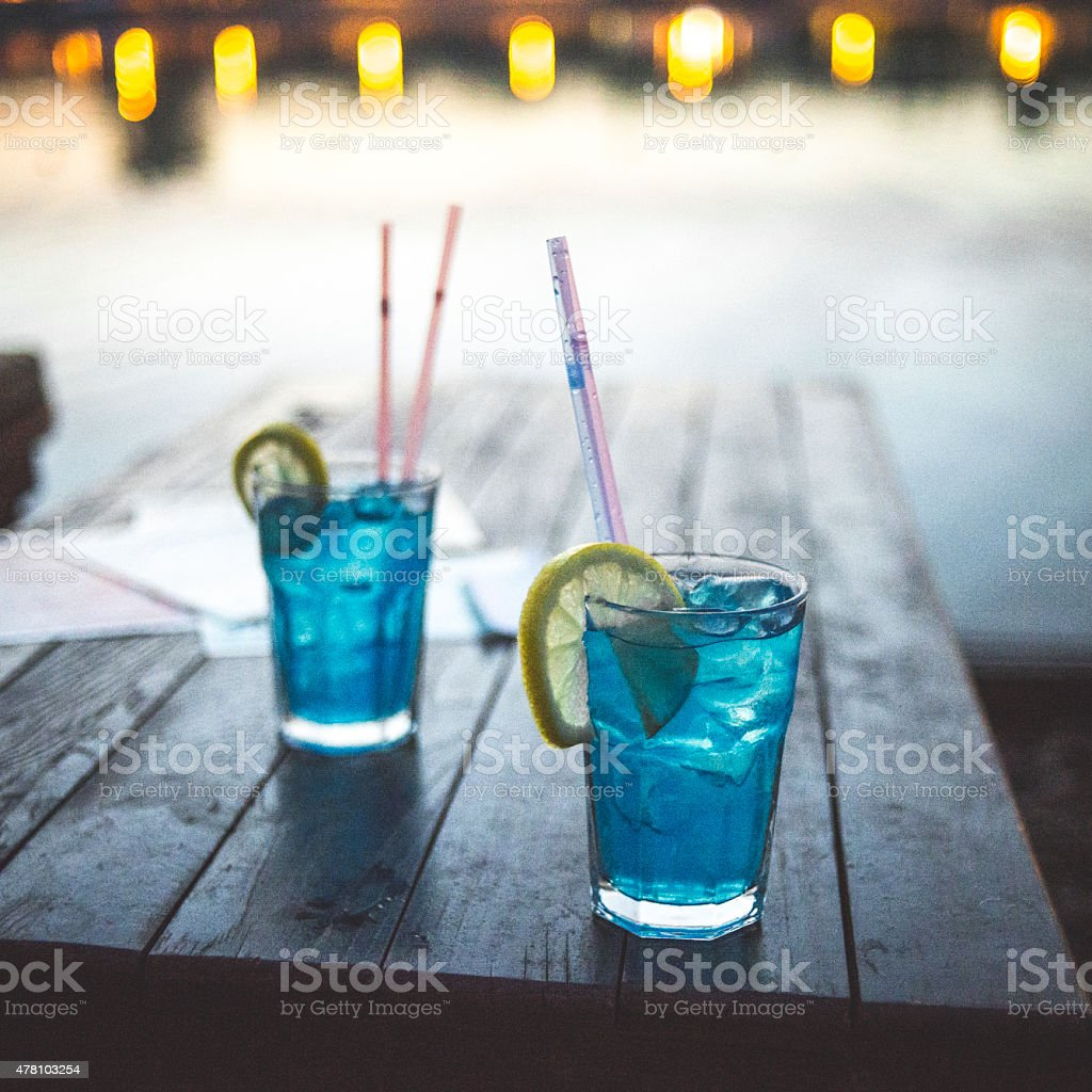 Two cocktail with lemon stock photo