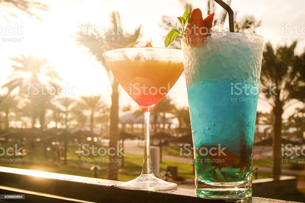 two cocktails in the sunshine stock photo