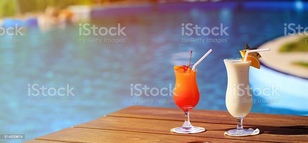 Two cocktails on luxury tropical beach stock photo
