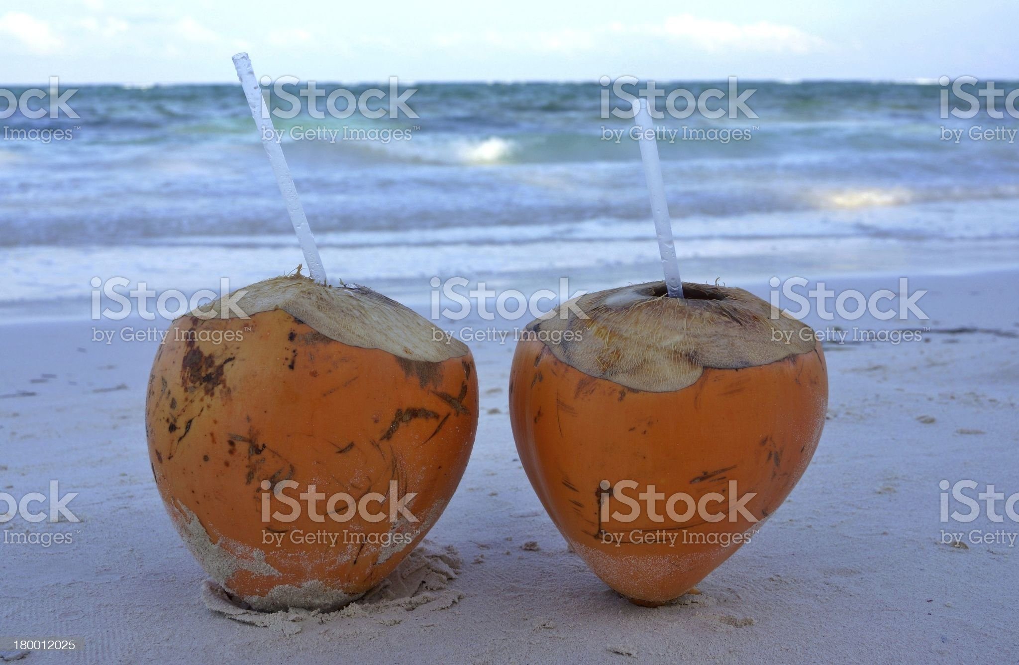 Two cocoes with drink royalty-free stock photo