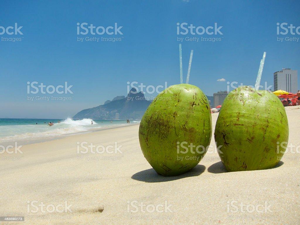 Two Coconuts on Ipanema Beach Rio de Janeiro Brazil stock photo