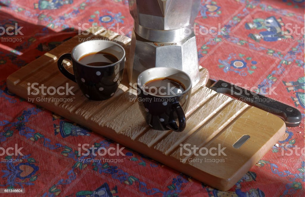 Two coffee cups and coffee pot stock photo
