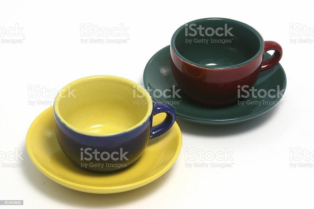 Two coffee cups horizontal o royalty-free stock photo