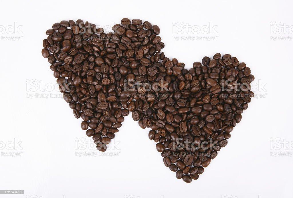 two coffee hearts stock photo