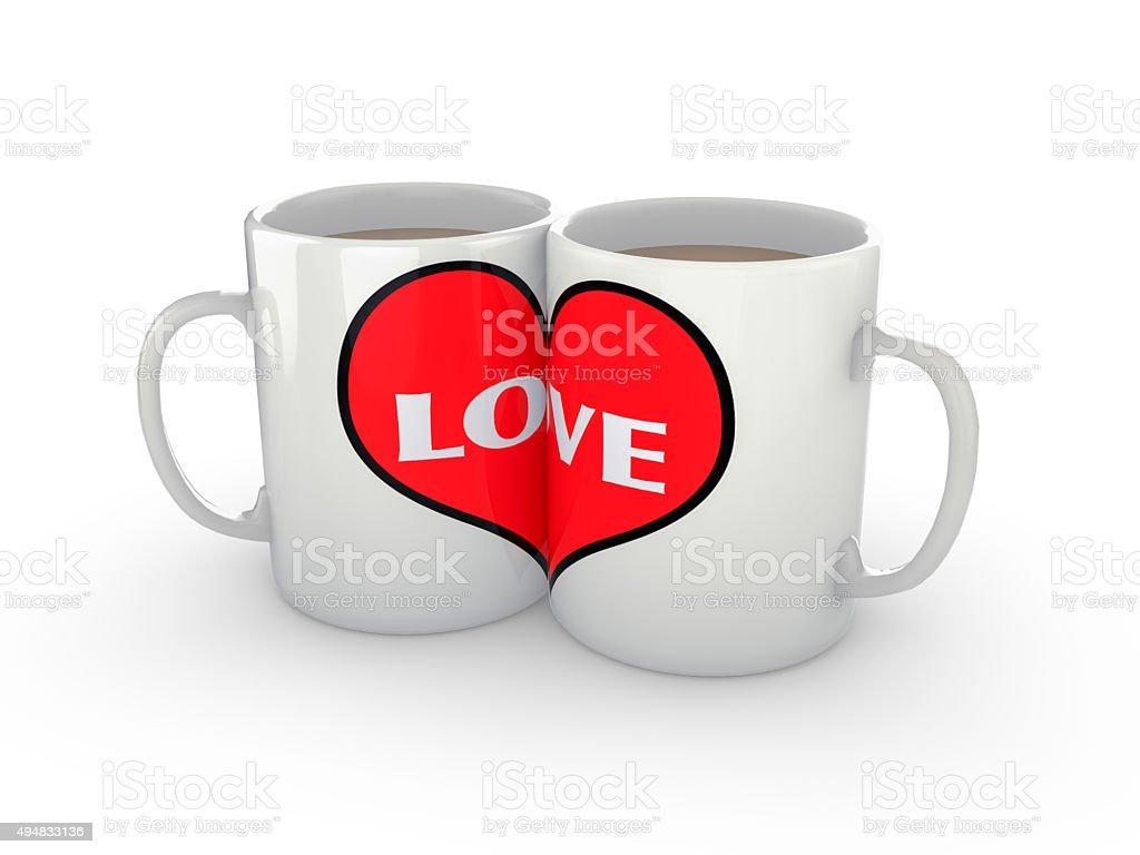 Two Coffee Mugs Showing Love stock photo