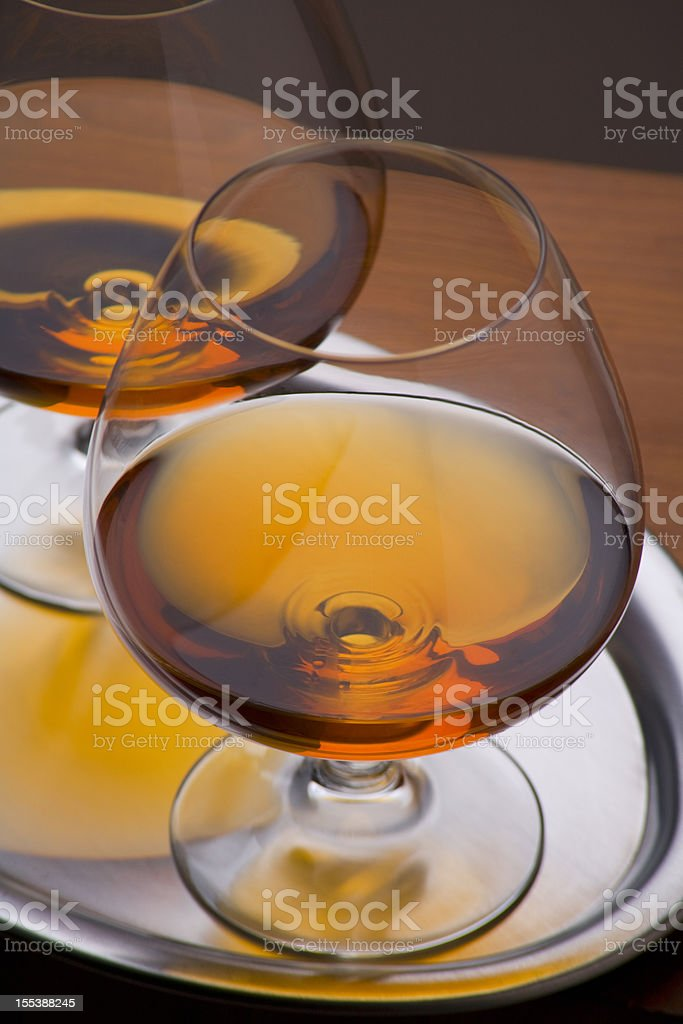 Two Cognac glasses royalty-free stock photo