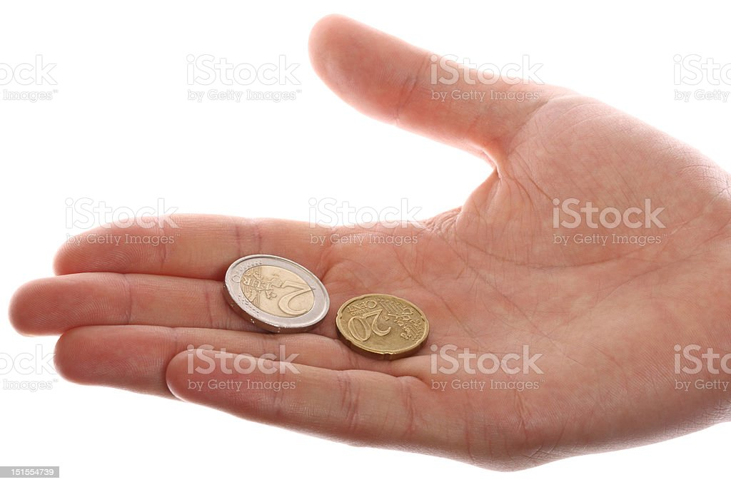 Two coins lie on the opened palm royalty-free stock photo