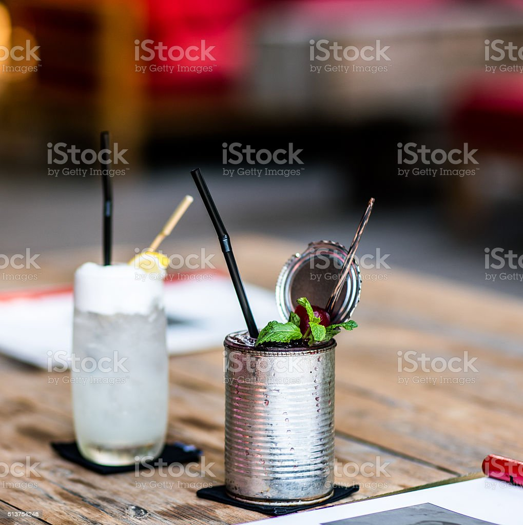 Two cold cocktail in nice bar stock photo