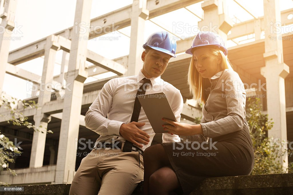 Two colleagues at the work. stock photo