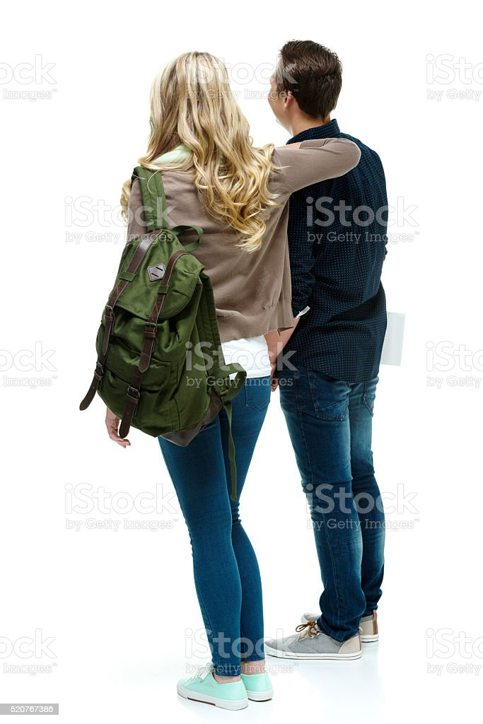 Two college students standing together stock photo