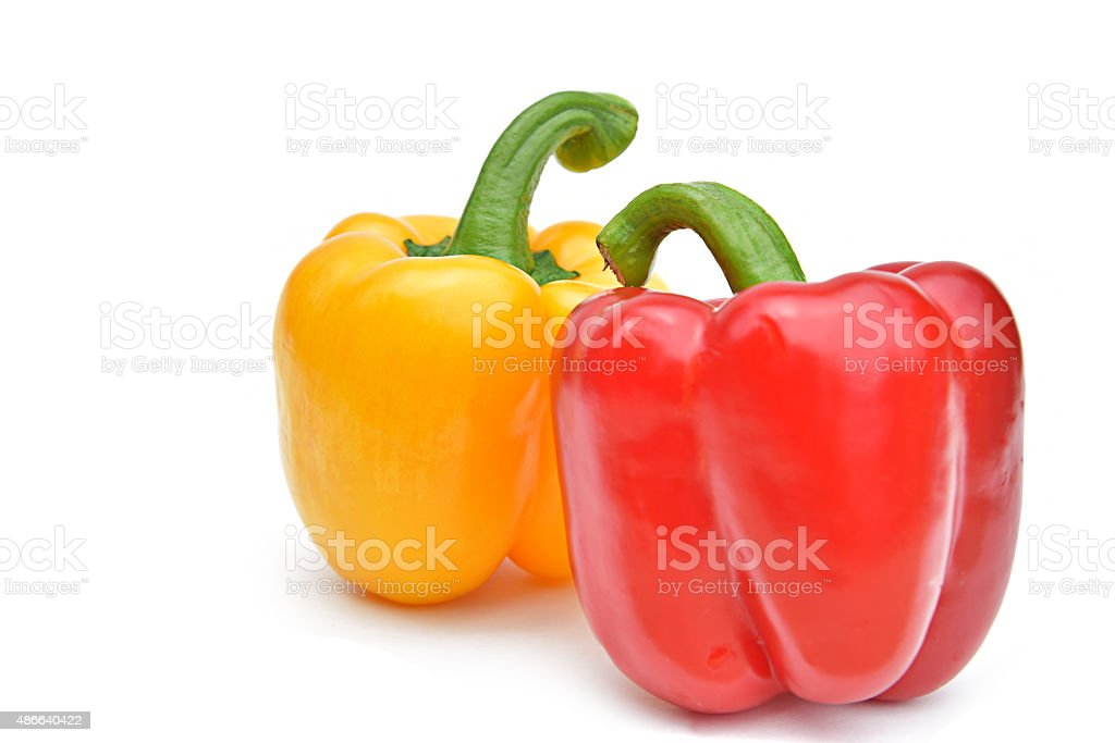 two color bell pepper isolated stock photo