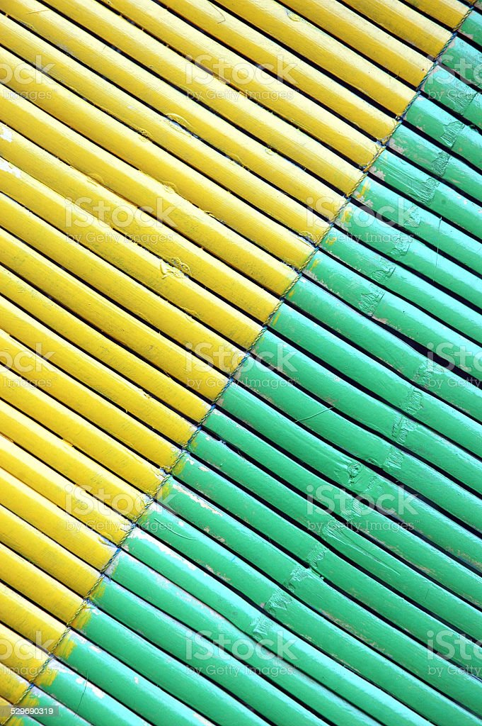 two color diagonal on bamboo curtain stock photo
