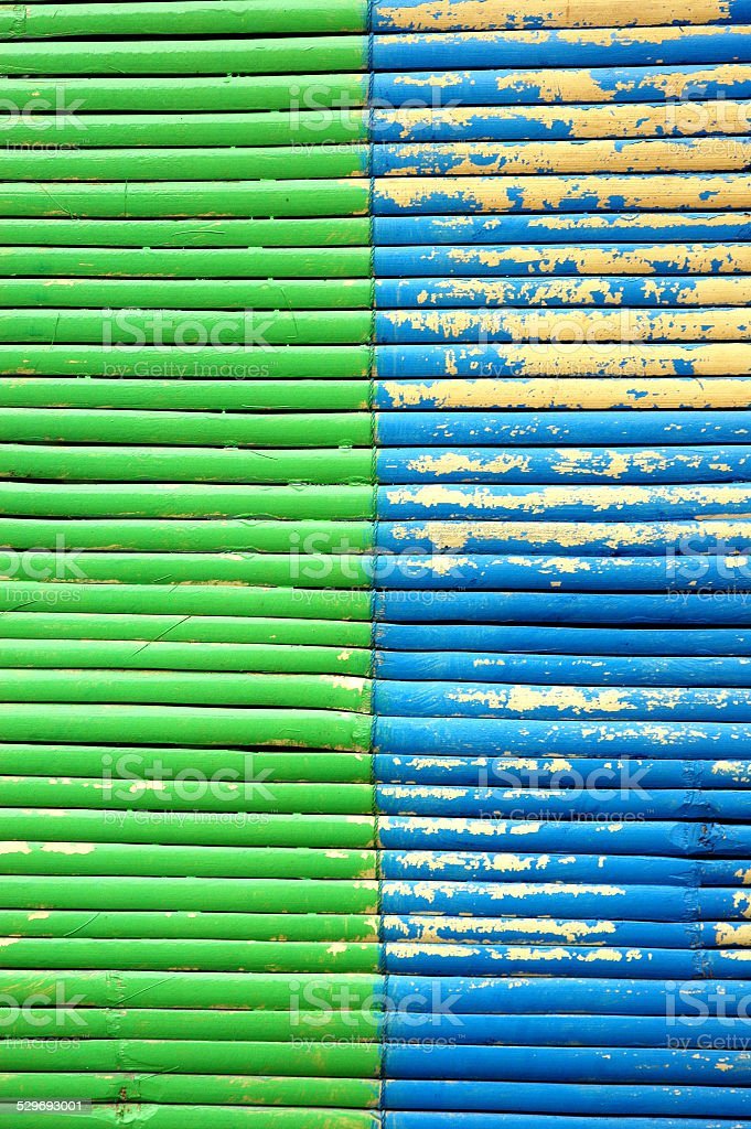 two color on bamboo curtain stock photo