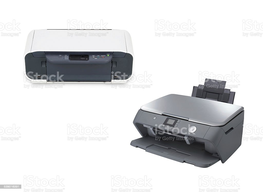 two color printer isolated stock photo