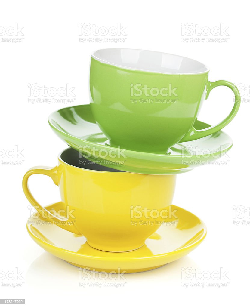 Two colorful cups royalty-free stock photo