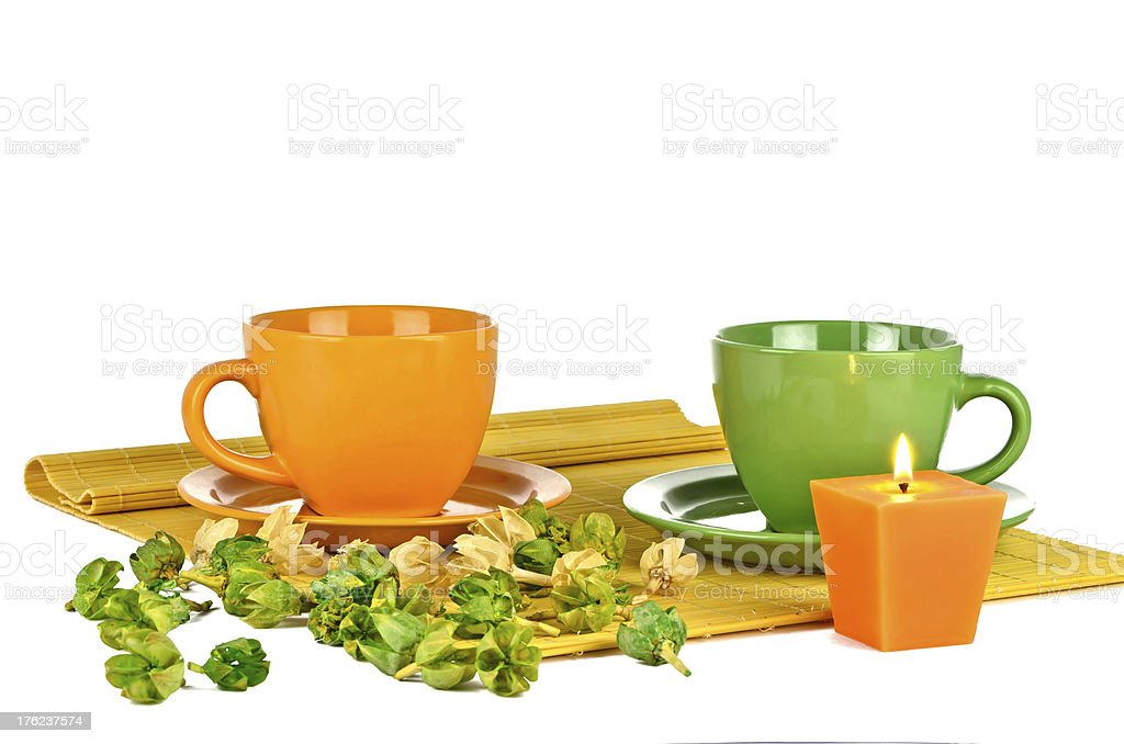 Two colorful cups with aromatic compound royalty-free stock photo