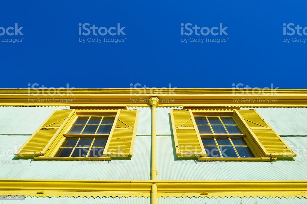 Two colorful windows in valparaiso stock photo
