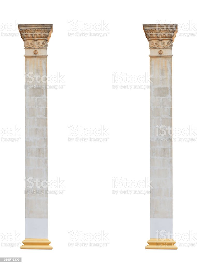two columns in classical architectural style isolated on white background stock photo