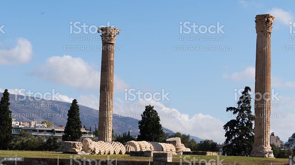 Two columns of the Olympieion , Athens, Greece stock photo