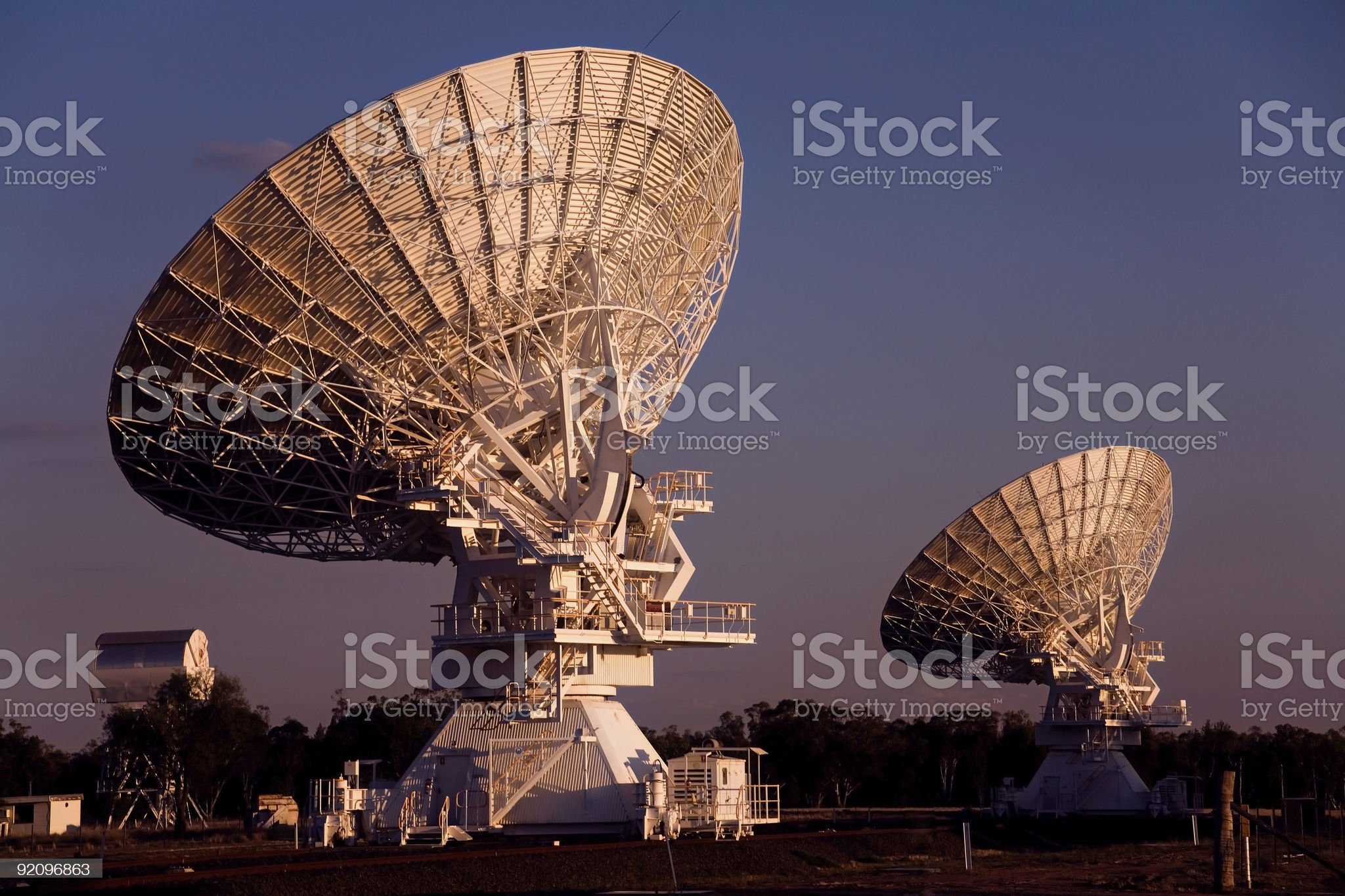 Two Compact Array Telescopes royalty-free stock photo