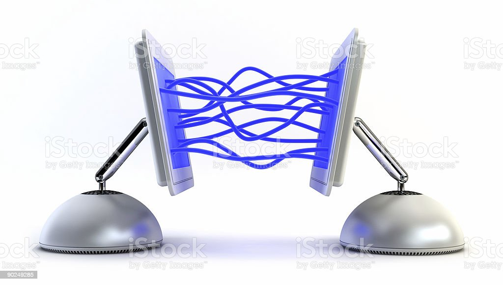 two computer communicate with each other royalty-free stock photo