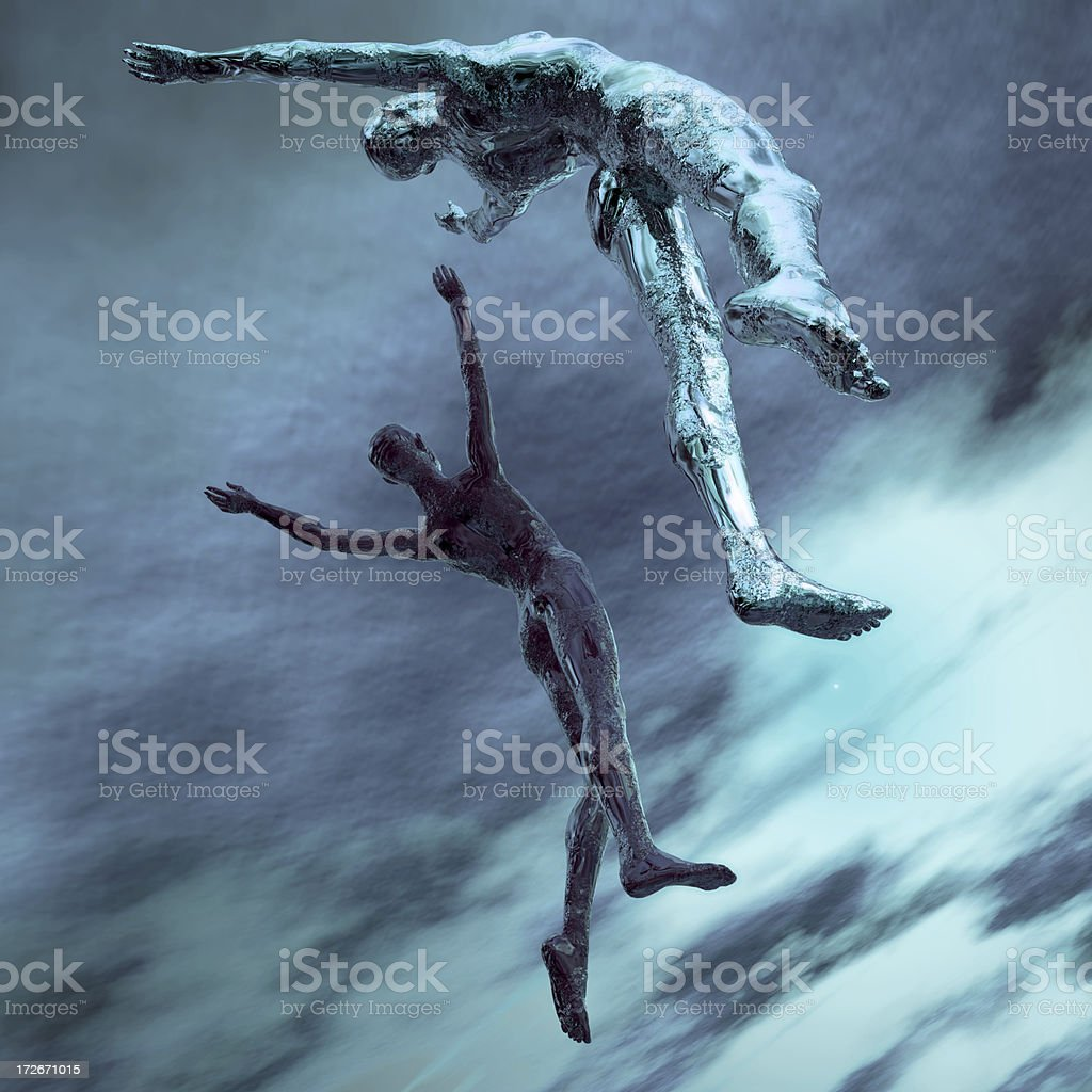 Two computer drawn avatars leaping into the sky in blue stock photo