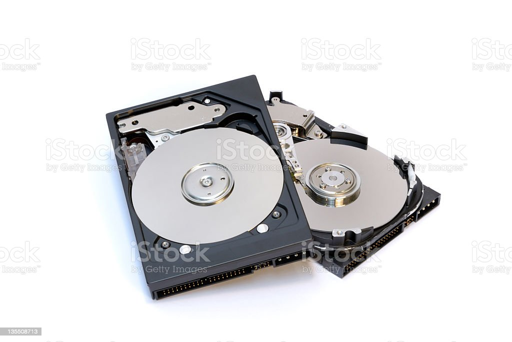 Two computer hard disk drives on white background royalty-free stock photo