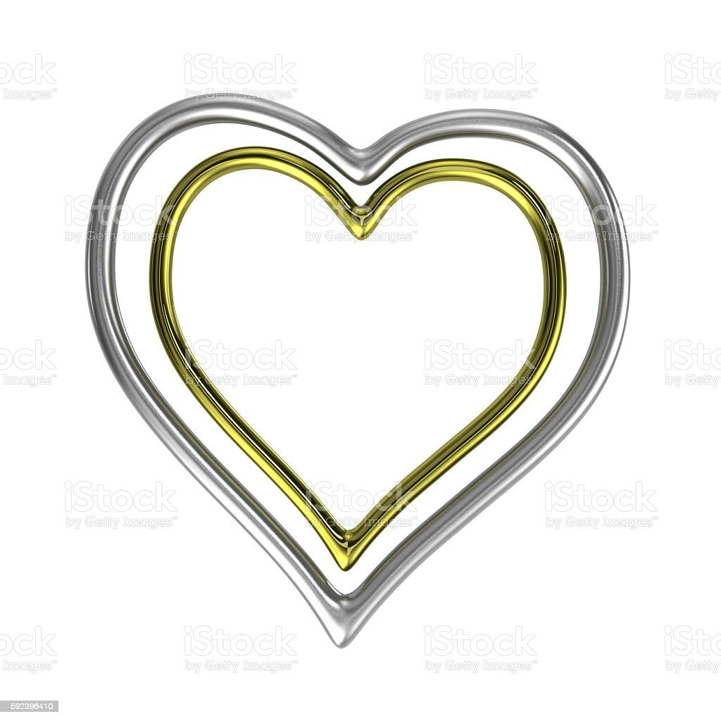 Two Concentric Heart Shaped Golden and Silver Rings Frame stock photo