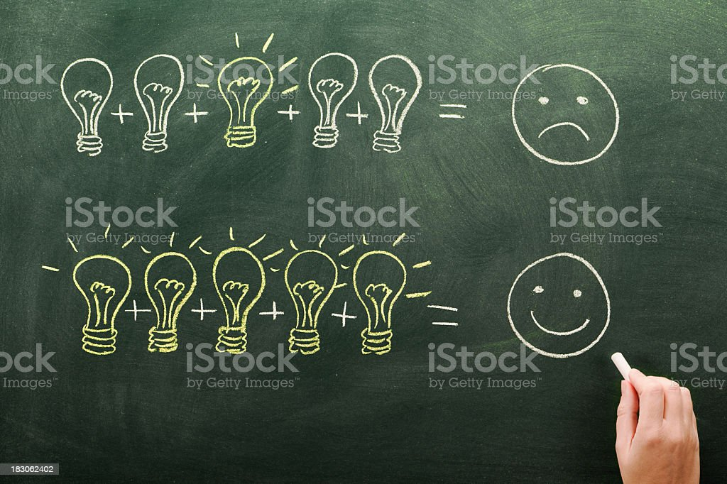 Two conceptual equations drawn in chalk for productivity royalty-free stock photo