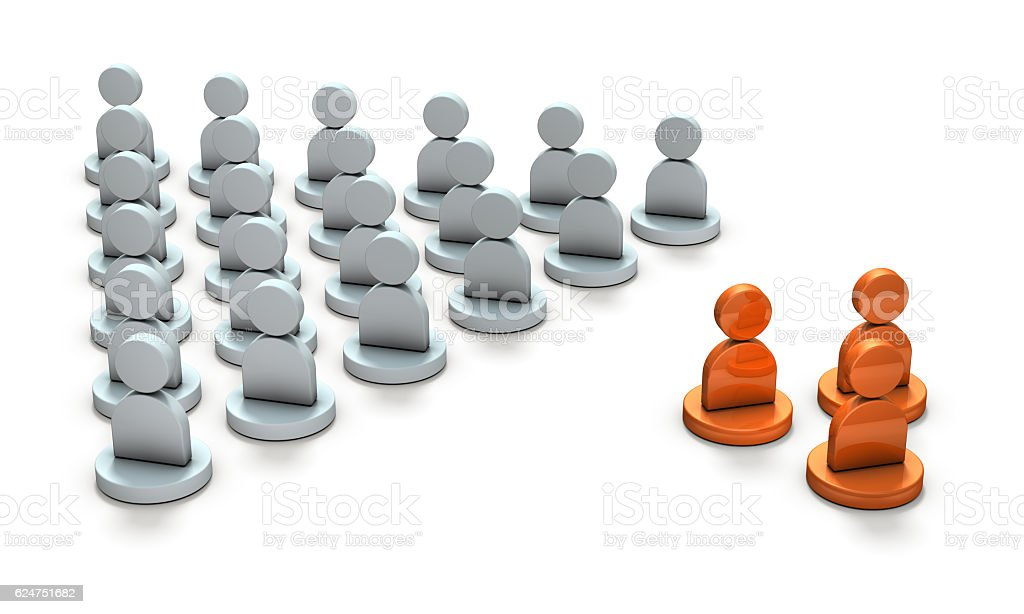 Two conflicting groups. stock photo