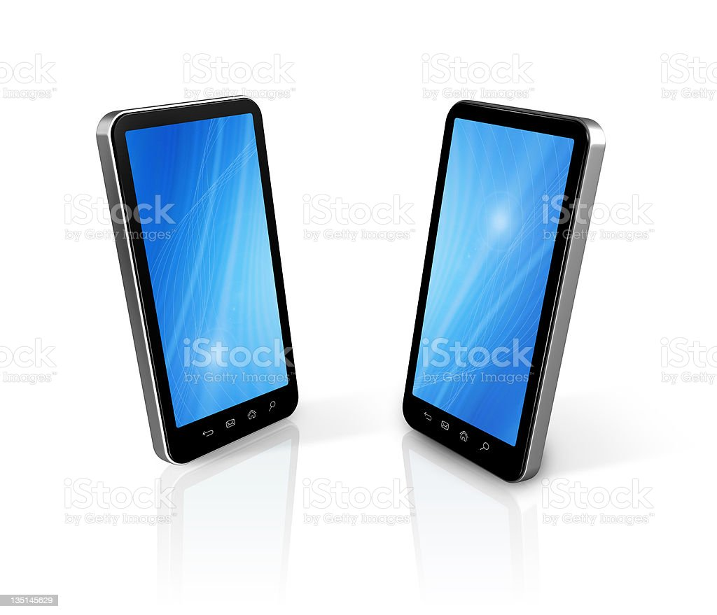 two connected mobile phones royalty-free stock photo
