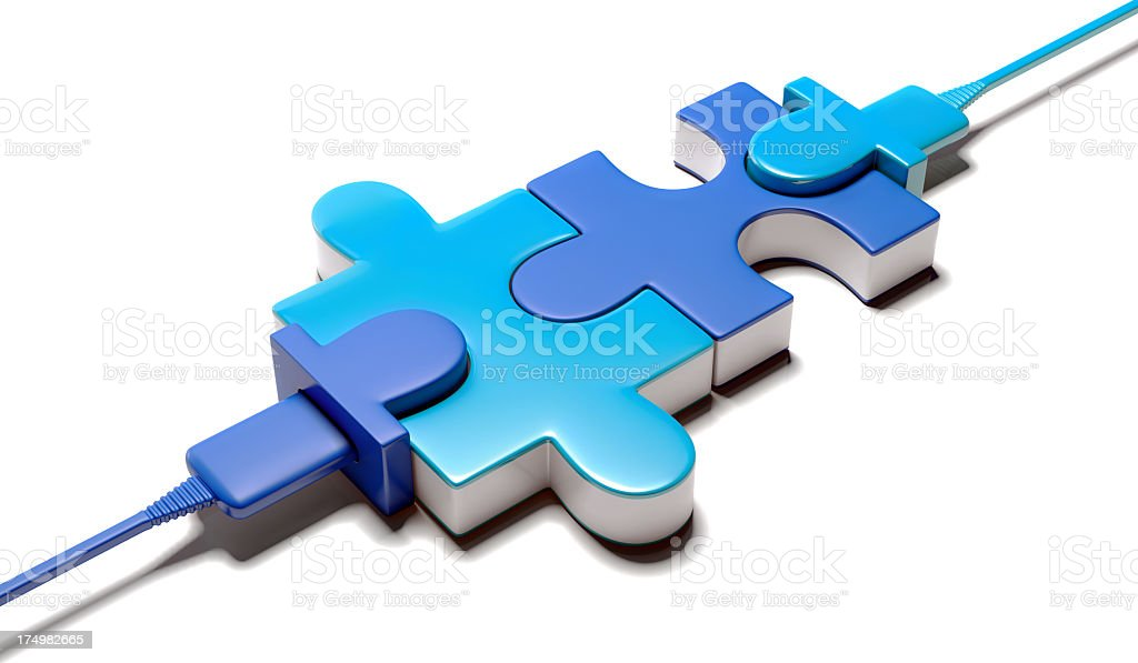 Two Connected Puzzle piece stock photo