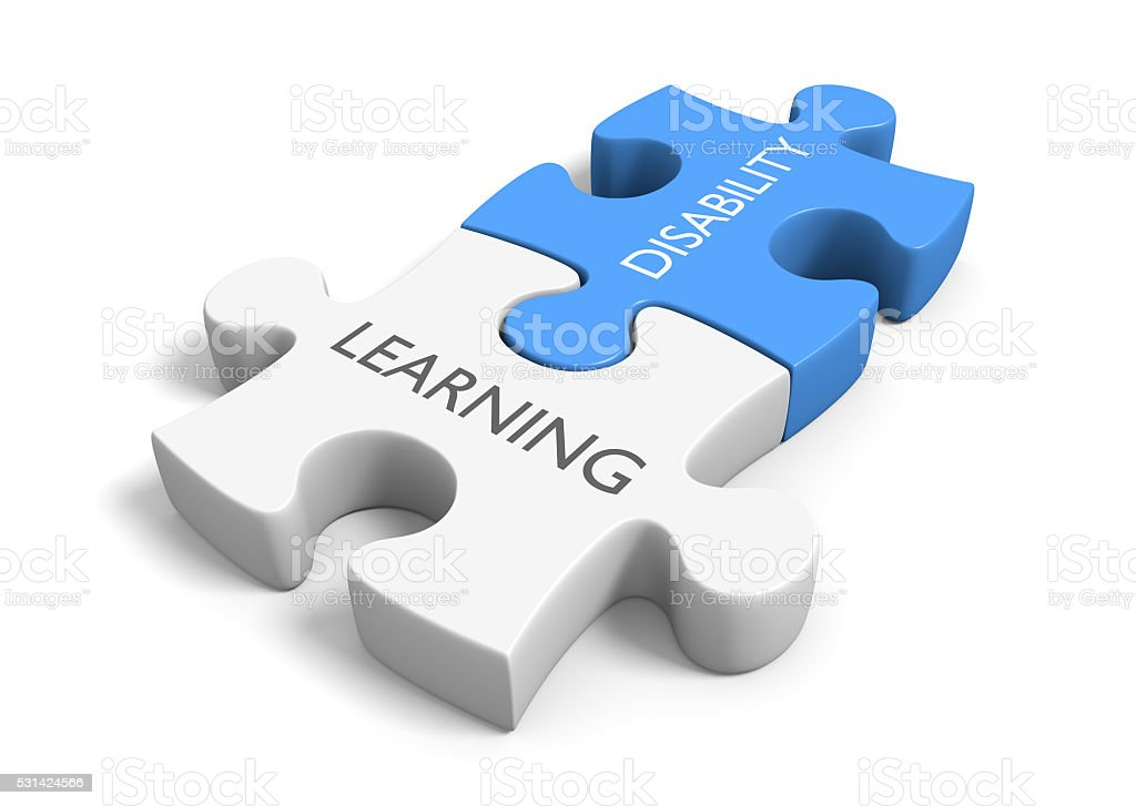 Two connected puzzle pieces with the words learning disability stock photo