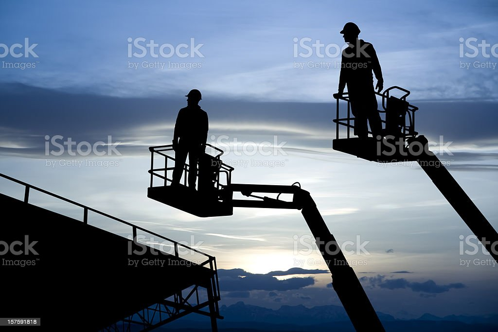 Two Construction Lifts stock photo
