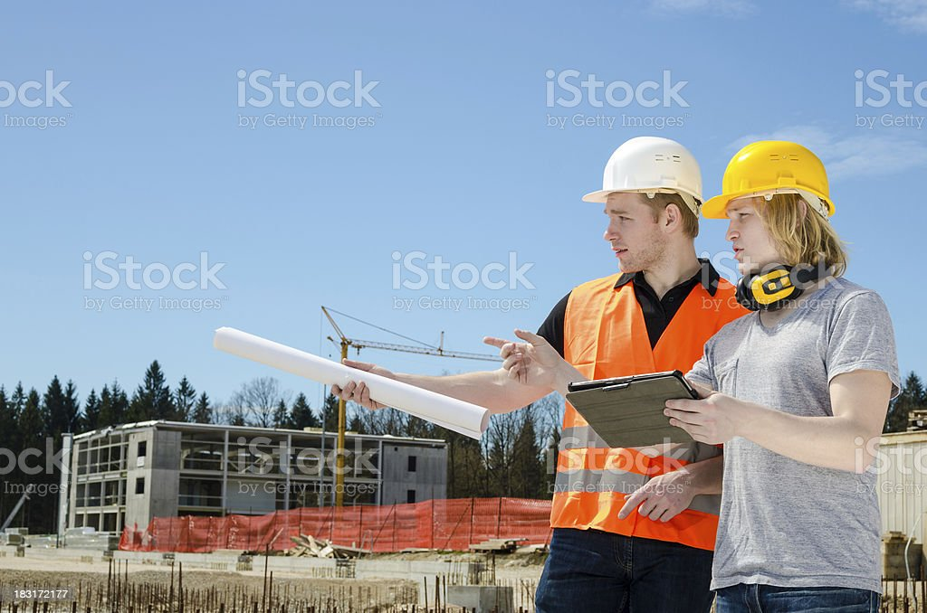 Two construction worker royalty-free stock photo