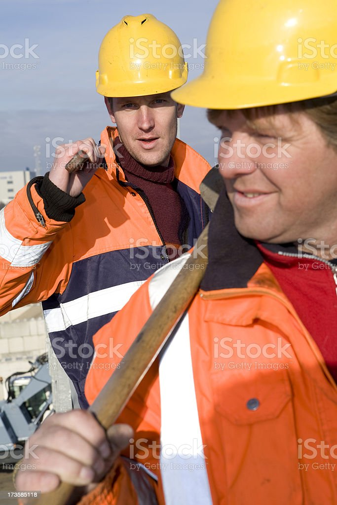 Two constructionworkers royalty-free stock photo