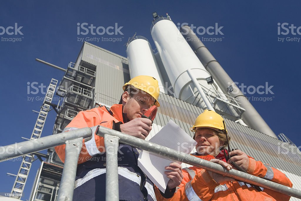 Two constructionworkers stock photo