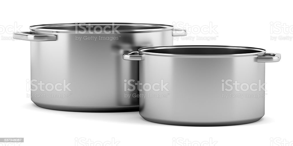 two cooking pans isolated on white background stock photo
