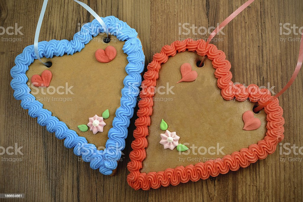 two copy space gingerbread heart for Oktoberfest royalty-free stock photo
