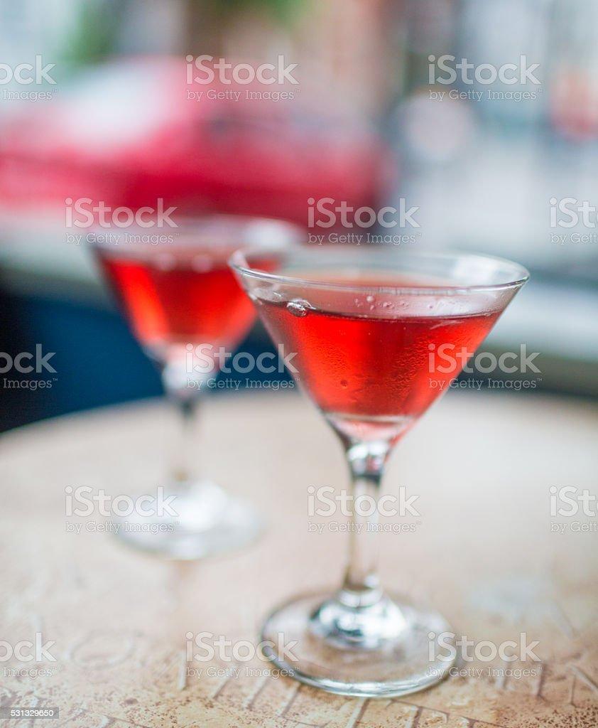 Two Cosmopolitan martinis stock photo